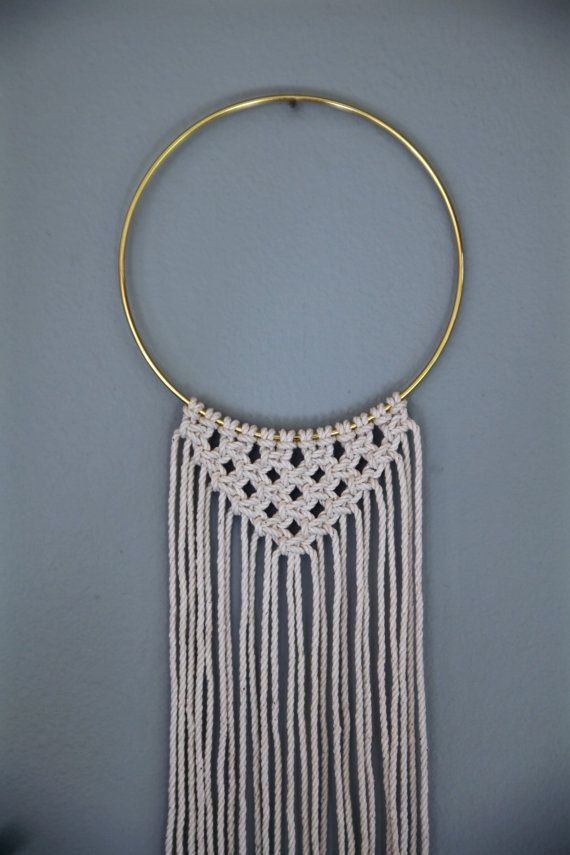 macrame wall hanging white or black rope w 6 brass hoop triangle fringe modern boho chic. Black Bedroom Furniture Sets. Home Design Ideas