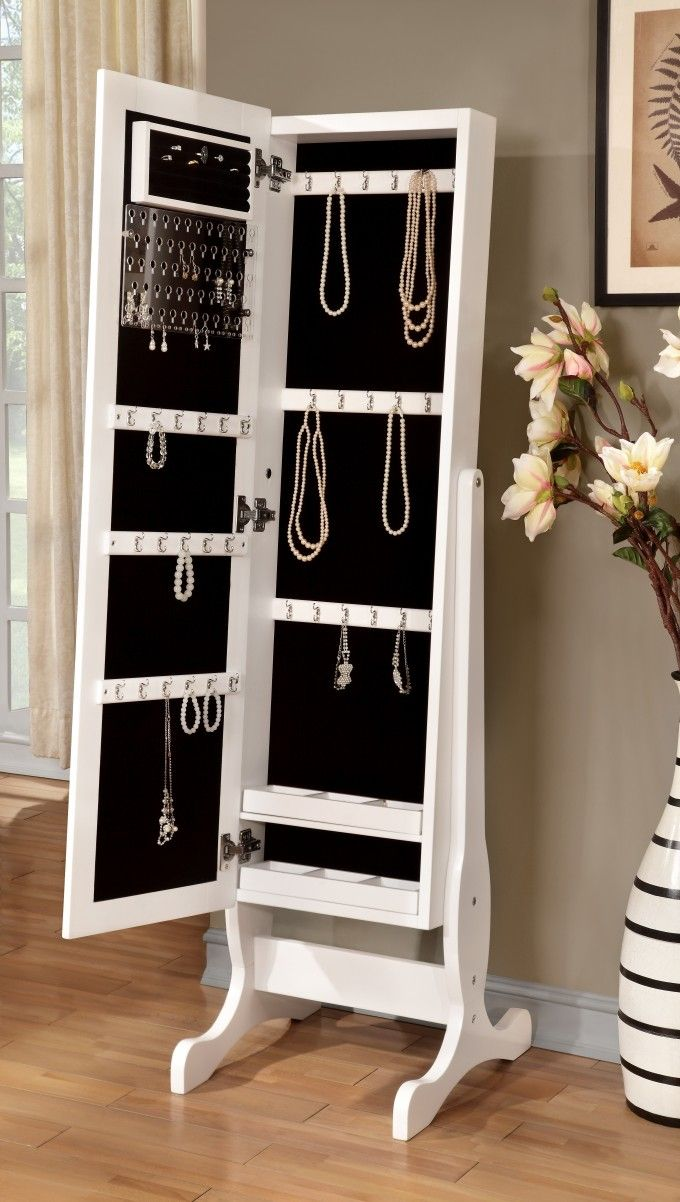 Full length mirror with built in armoire with jewelry storage inside