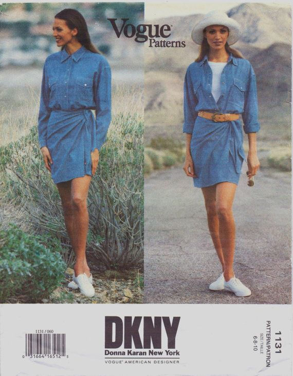 90s DKNY Womens Jeans Wrap Dress Vogue Sewing Pattern 1131 Size 6 8 ...