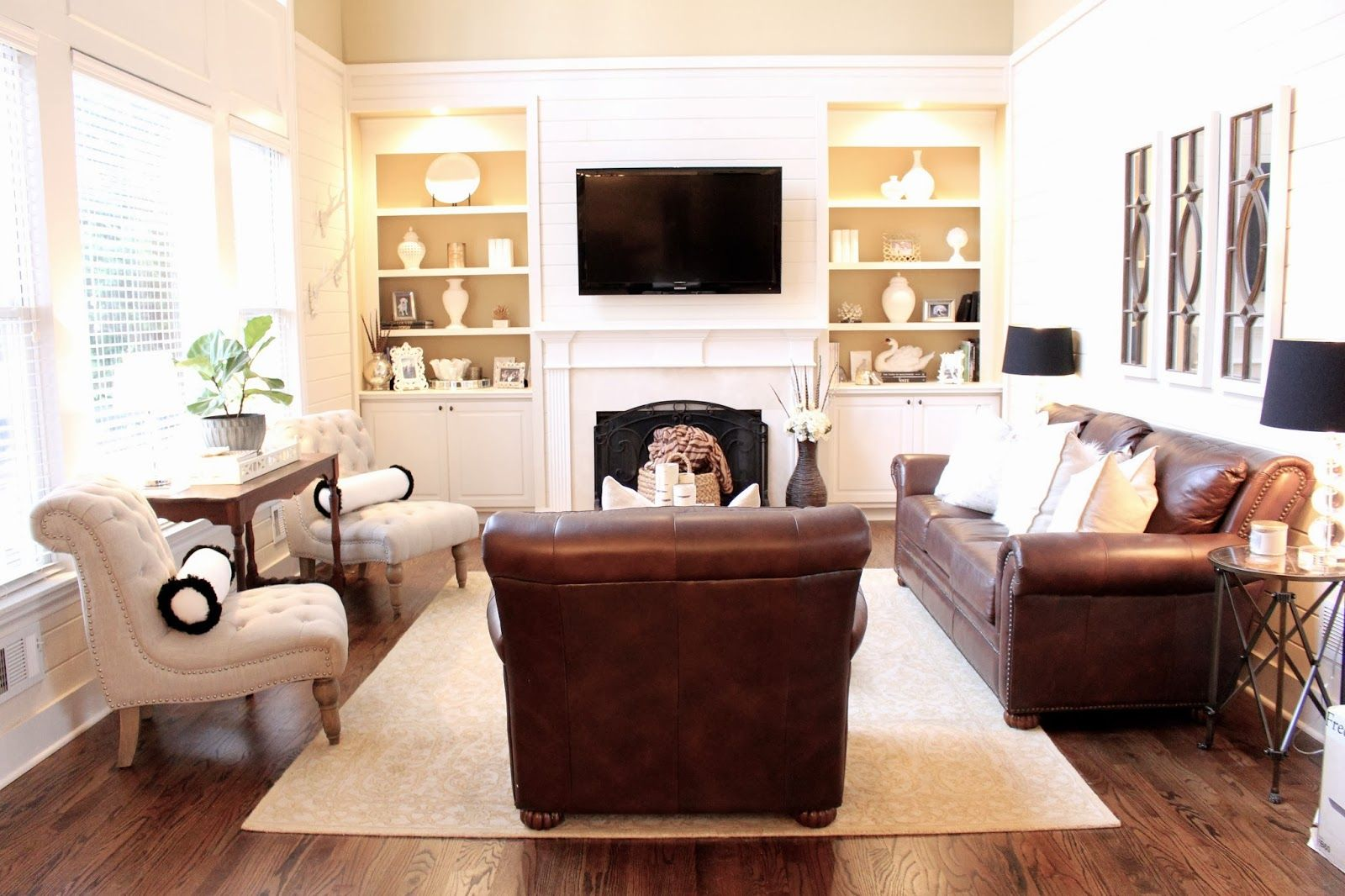 Leather couches like hubby loves and accent chairs like i for Leather sofa family room