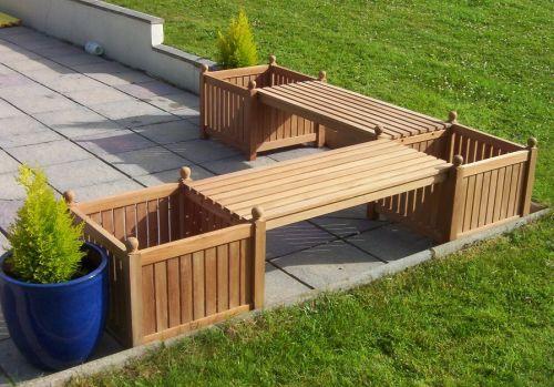 Teak Corner Bench With Planters   Teak Corner Bench With Planters   Teak  Benches   Garden Furniture Sets