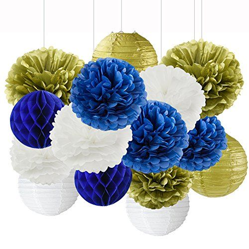 2ed8a1e24fdf9 Wcaro Mixed Navy Blue White Gold Party Tissue Paper Pom Poms Hanging Paper  Lantern Ball Paper Honeycomb Nautical Navy Themed Party Decoration Wedding  ...