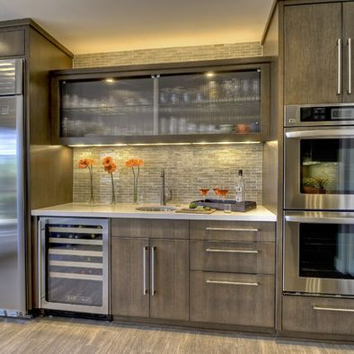 Bridge Modern Gray Kitchen Cabinets Design Pictures