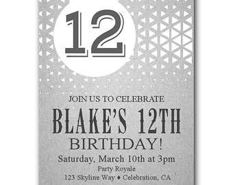 12th Birthday Invitations Boy Party Gender Neutral Kids Invitation Invites Or Girl