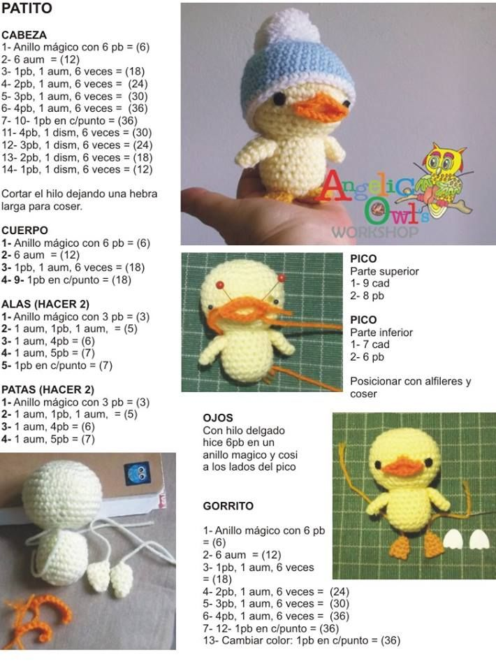 Chick with hat amigurumi pattern | patrones | Pinterest | Tortuga ...