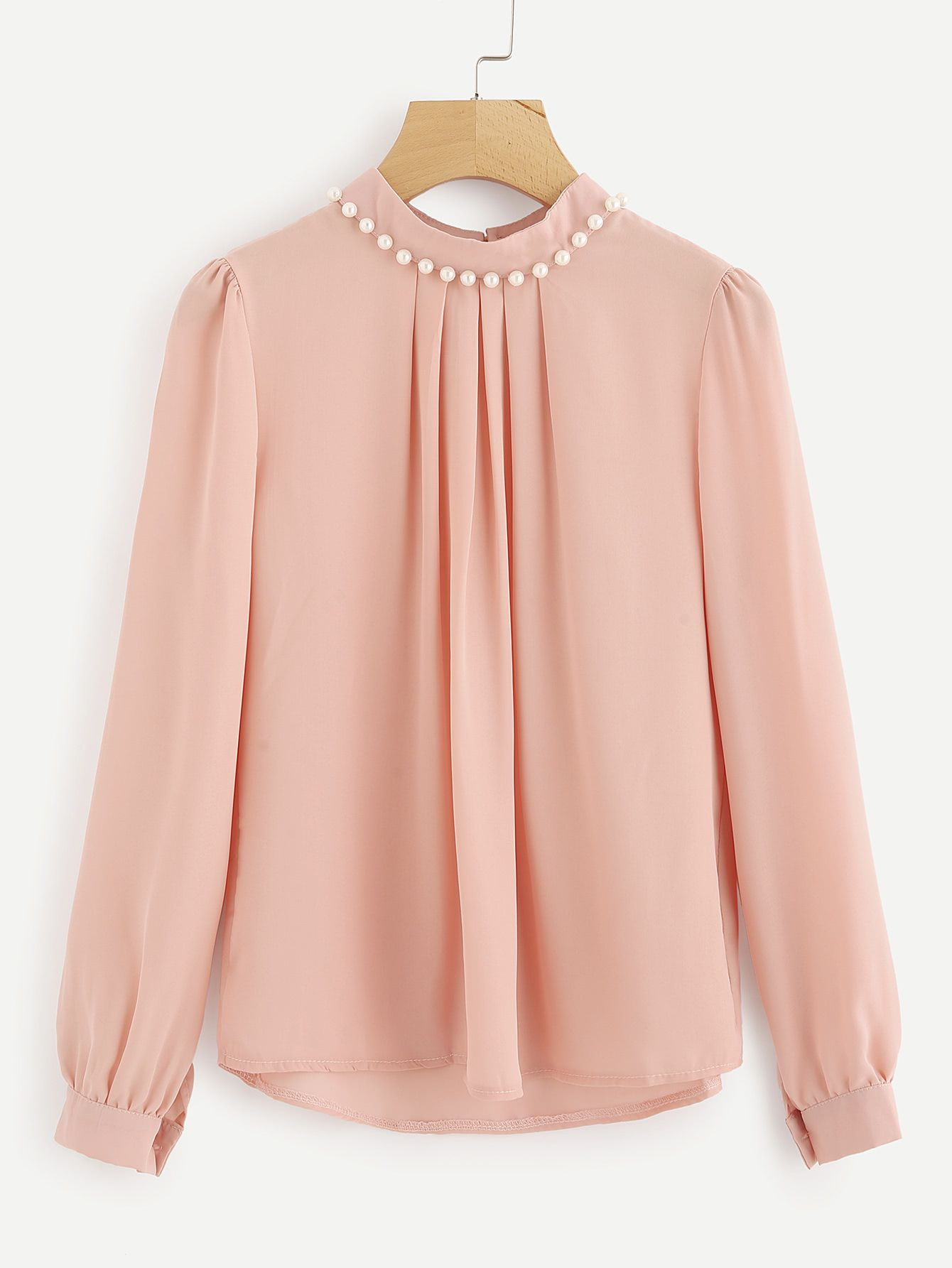 3a03d913aa Shop Pearl Beading Puff Sleeve Chiffon Blouse online. SheIn offers Pearl  Beading Puff Sleeve Chiffon Blouse & more to fit your fashionable needs.