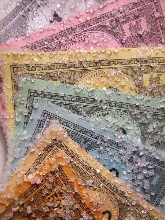 merepictures:    Alexis Arnold. Monopoly Money I, Monopoly money and borax crystals, 2011.