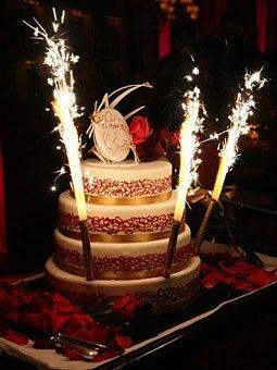 Glamorous Parisian Wedding Birthday Cake Sparklers Cake