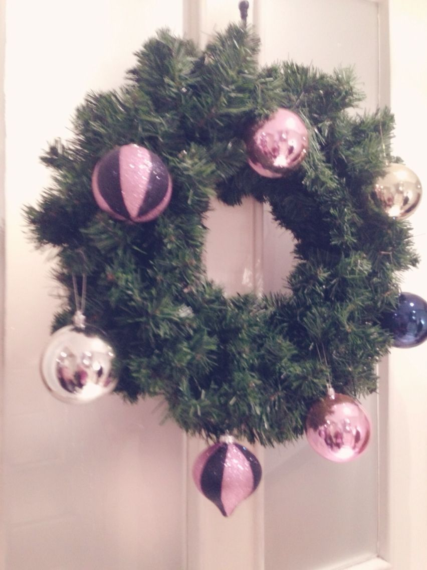 Pastel pink girly Christmas wreath