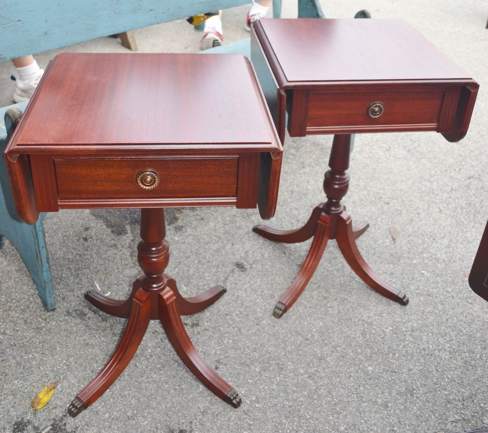 Pair Square Mahogany Duncan Phyfe Drop Leaf End Tables
