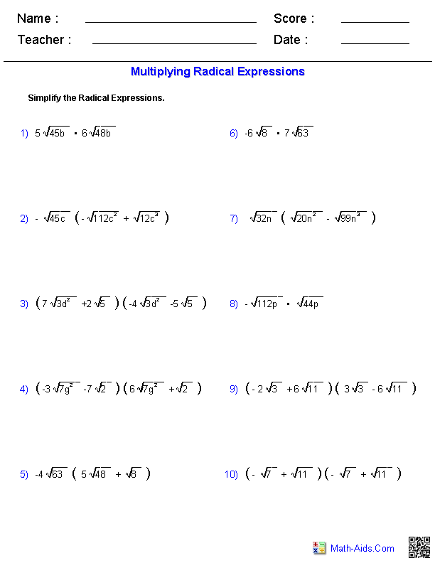 Multiplying Radical Expressions Worksheets | Math-Aids.Com | Algebra ...