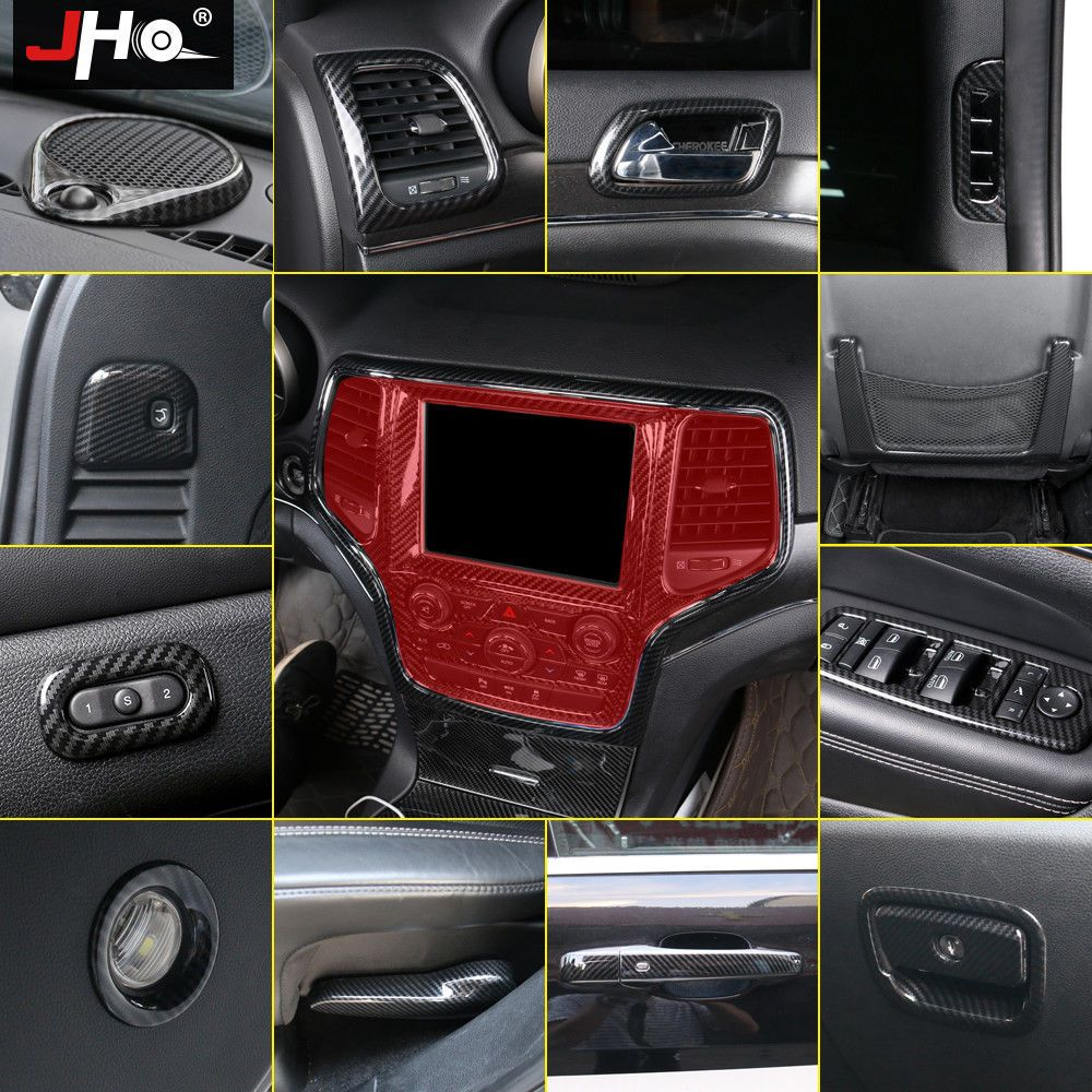 Carbon Black Door Handle Cover Decoration Trim for Jeep Grand Cherokee 2014-2018