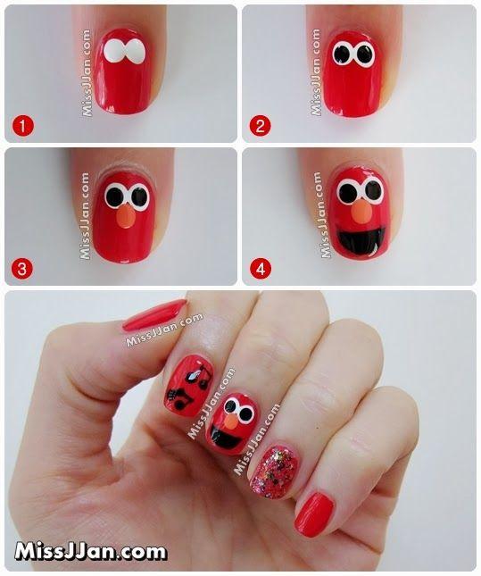 Sesame Street Elmo Inspired Nail Art ♥♥ #nailart #manicure ...