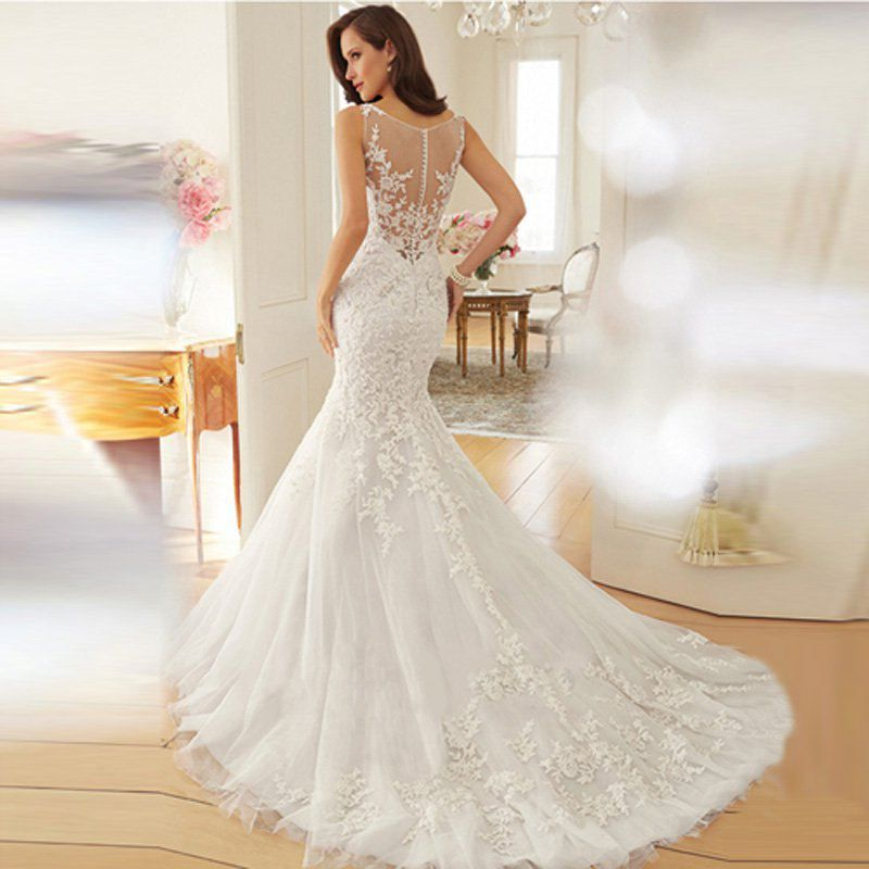 Sexy Elegant Princess Bride Perspective Lace Backless Chapel Train ...