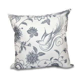 Floral Print Pillow Traditional Bird Floral E by design 20 x 20-inch Gold
