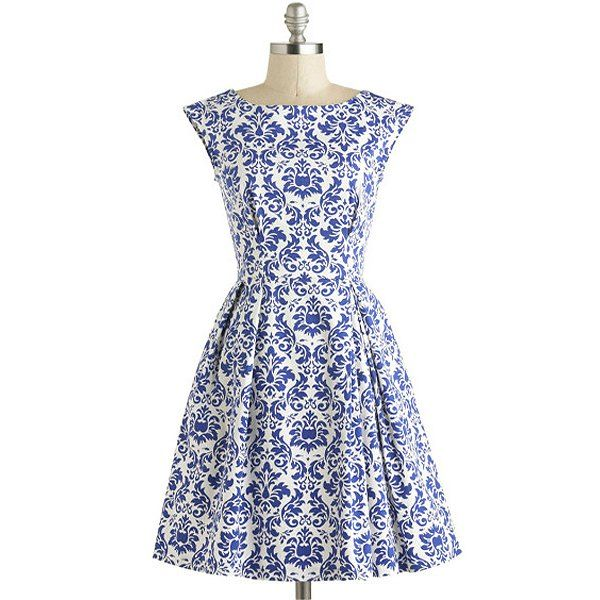 Europe And The Retro Style Blue Floral Print Boat Neck Dress Vintage Dresses Online Retro Vintage Dresses Blue Floral Print Dress