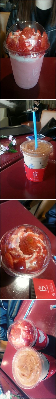 오늘먹은거 시나몬라떼? 뭐드라 ㅇㅅㅇ 글구 히영이가 먹은건 딸기파르페 뀪뀩