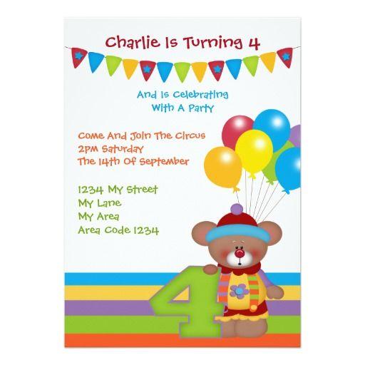 Teddy Bear Clown Fourth Birthday Party Announcements