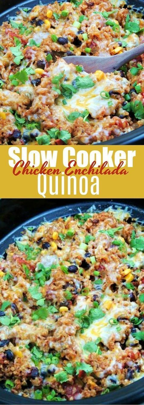 This easy Slow Cooker Chicken Enchilada Quinoa recipe is simple, healthy, and full of all of those Mexican flavors you crave! #slowcooker #crockpot #chicken #enchilada #quinoa #mexican #healthy #glutenfree #easy #recipe | bobbiskozykitchen.com #healthycrockpotchickenrecipes