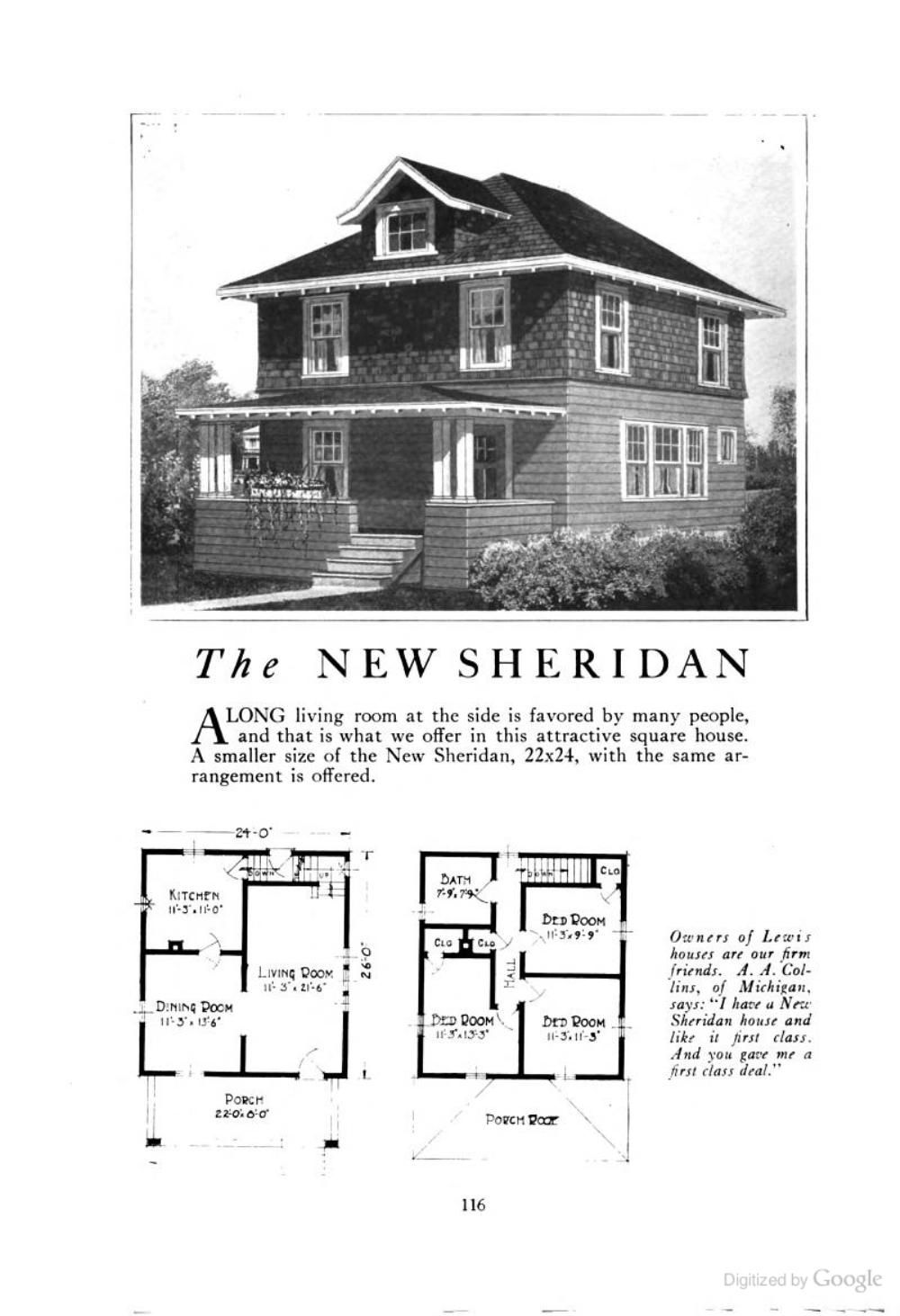The New Sheridan An American Foursquare Kit House House Plan