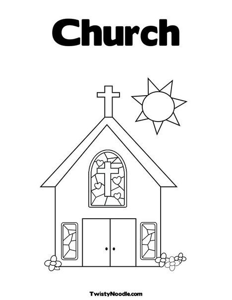 Church With Stained Glass Window Coloring Page Sunday School