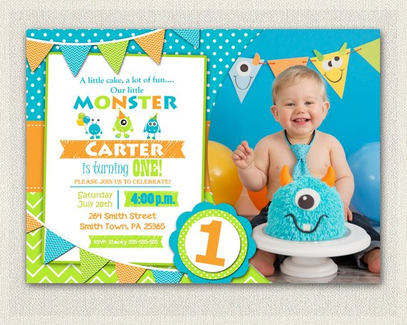 First Birthday Invitation Boys Monster 1st Invite Orange Green Blue Printable