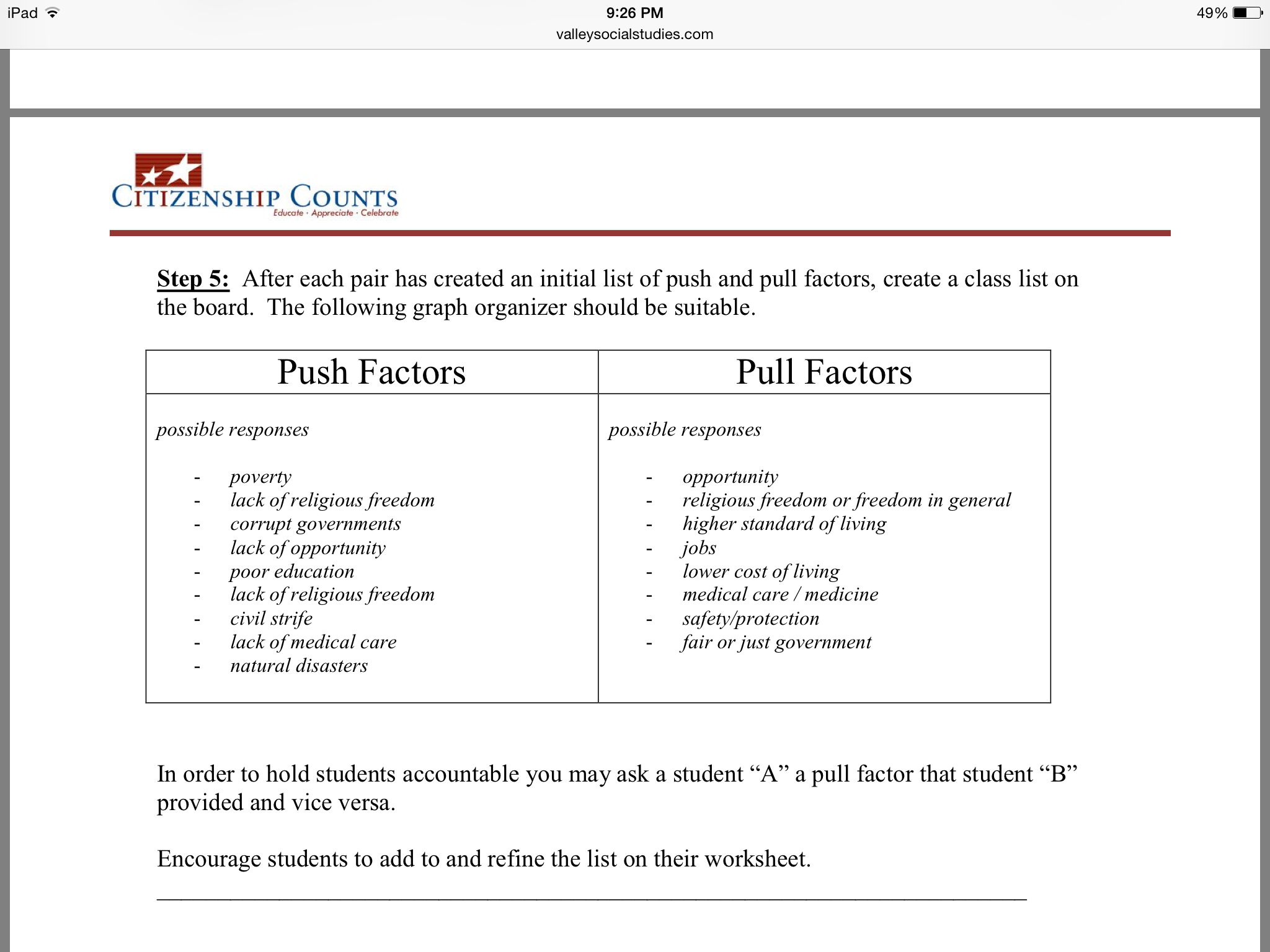 Printables Of Immigration Push And Pull Factors Worksheet