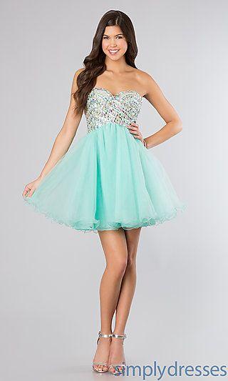 Beaded Strapless Sweetheart Short Formal Dress Semi Dresses