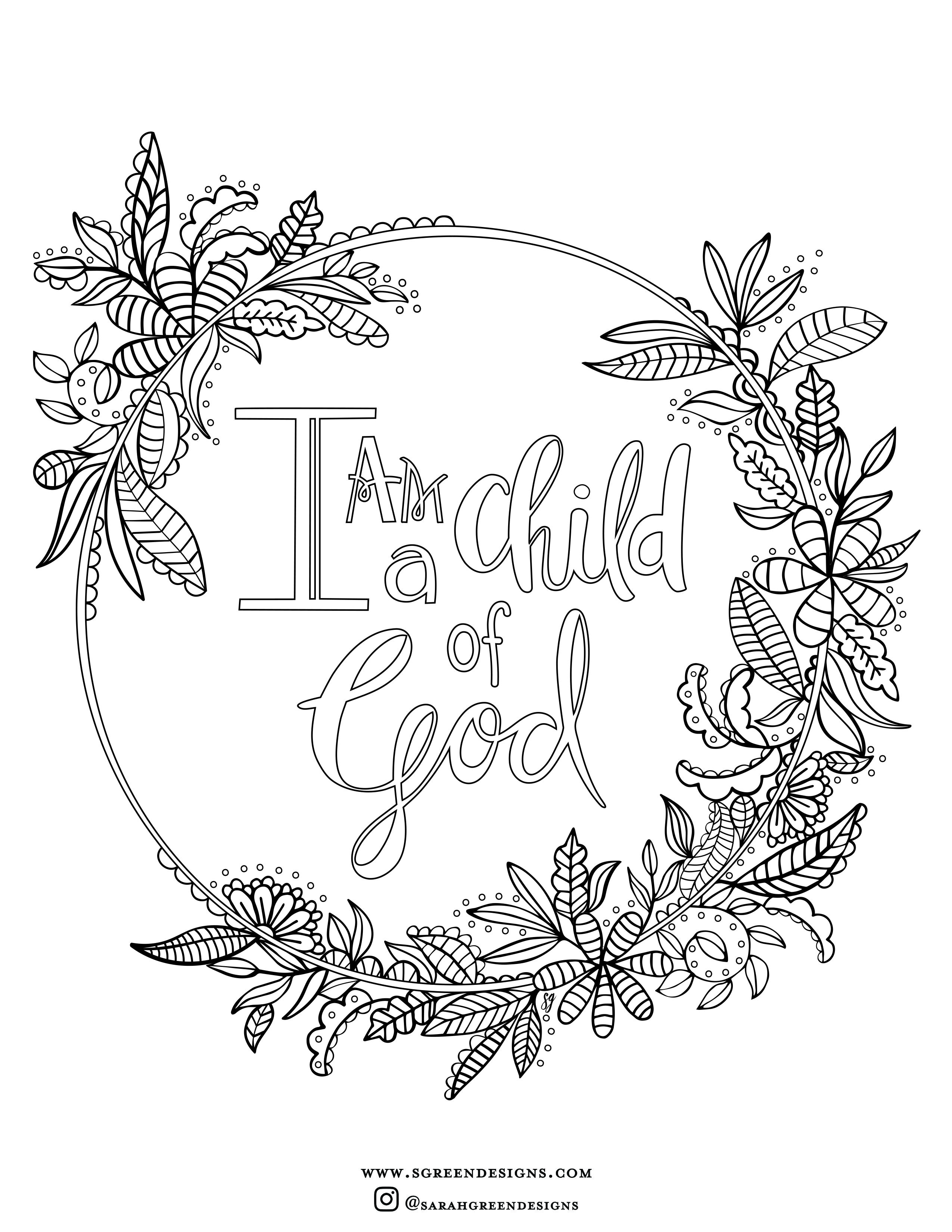 - Free Coloring Page, I Am A Child Of God, Christian Coloring Page