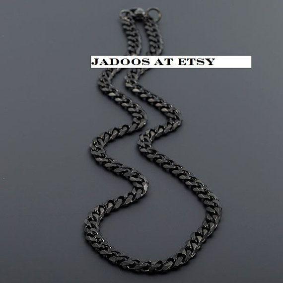 Black Cuban link chain stainless steel by Jadoos on Etsy
