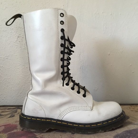 Dr. Martens DOCS 14 eye tall white combat boots 10 | Lace, Eyes ...