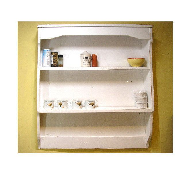 Wooden Irish Shabby Chic Painted Pine Wall Dresser Cabinet Shelf Unit  Country Cottage Vintage Homewares Farmhouse