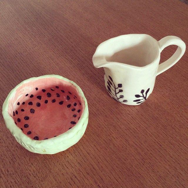 Ceramic watermelon bowl and #milkpitcher by Marina Molares