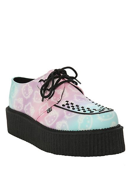 Pastel Goth Creepers    Hello Kitty T.U.K. Cotton Candy Mondo Creepers   Hot Topic
