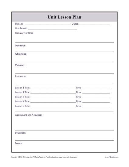 Complex Unit Lesson Plan Template | 6th grade reading activities ...