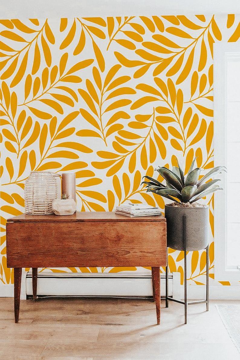 Honey Yellow Peel And Stick Wallpaper Botanical Wallpaper Etsy In 2020 Leaf Wallpaper Yellow Accent Walls Wall Murals Diy