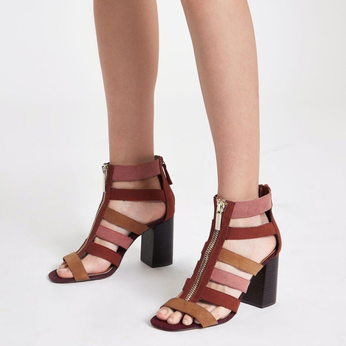 Beige colour block caged block heel   Heels and flats   Heels, Shoe ... 45fdb2902e48