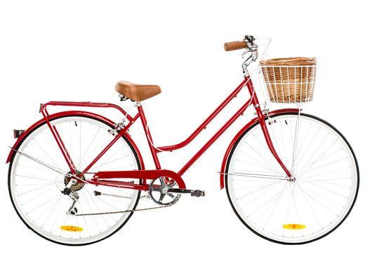 Reid Vintage Classic Ladies Bike With Basket Cherry Red Ladies