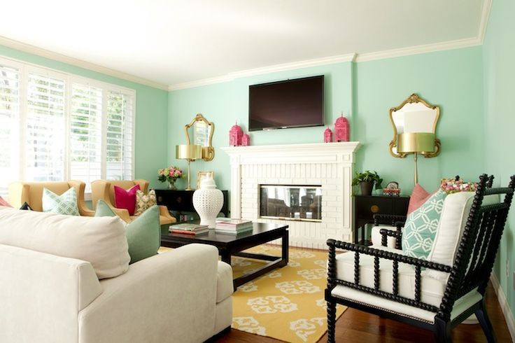 Mint On Pinterest Mint Green Mint Walls And Mint Green Walls Pink Living Room Family Room Colorful Living Room Design