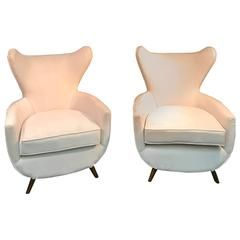 For Sale On   A Sensational Pair Of Sculptural Italian Lounge Chairs In The  Manner Of Paolo Buffa, Circa Newly Re Upholstered, And In Great Condition.