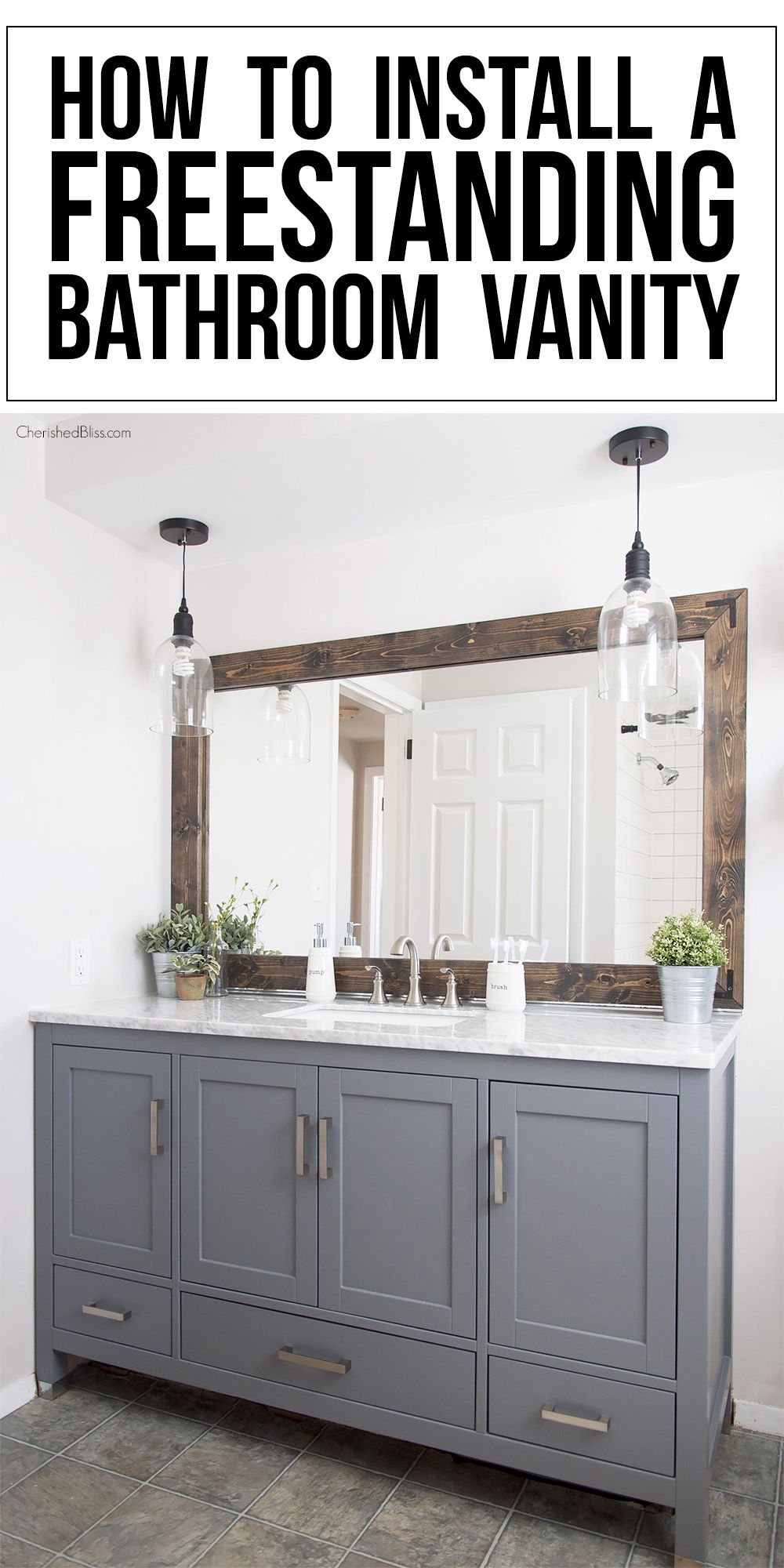 How to install a freestanding bathroom vanity diy home - How to install a bathroom vanity ...