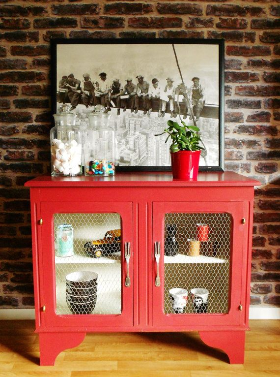 bahut rouge et blanc de cuisine et/ou salle à manger   peinture