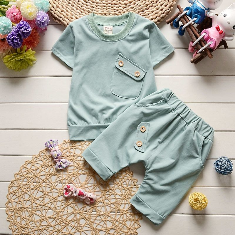 Baby Boys Girls Summer 2 Piece Cotton Outfit Set Tee and Shorts Outfits