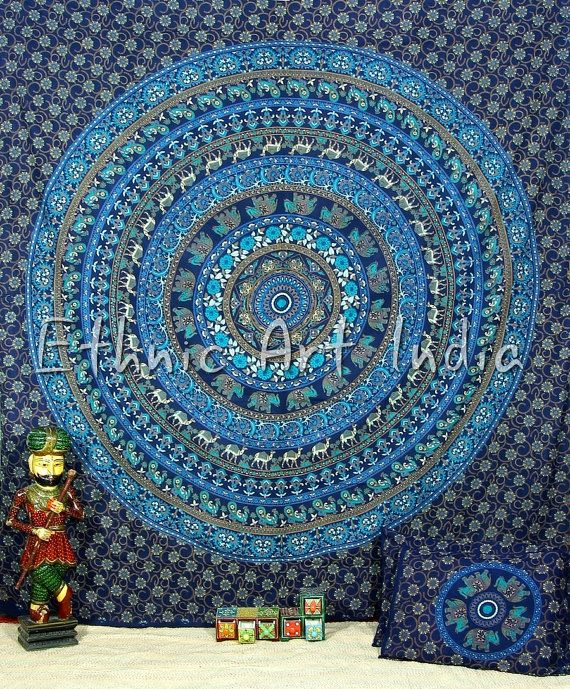 ETHNIC ART INDIA !!  Presents this Hand Screen Printed 100% cotton tapestry Which can be used as a Throw, wall hanging, Bedsheets, Picnic Sheets,