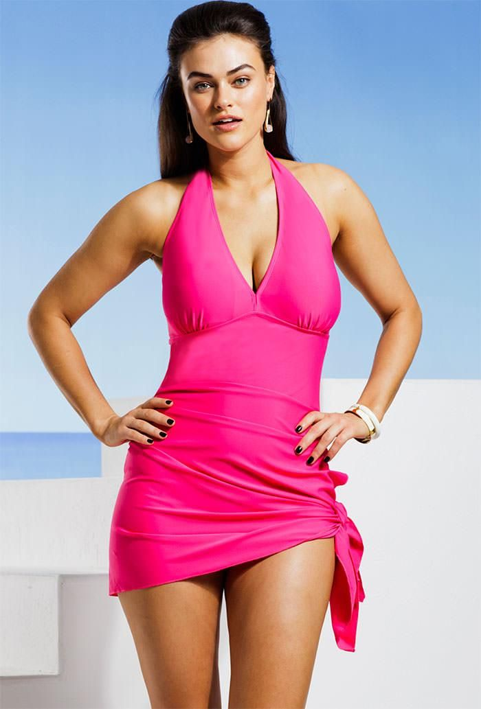 Marilyn Monroe Plus Size Fuchsia Convertible Swimdress Charming