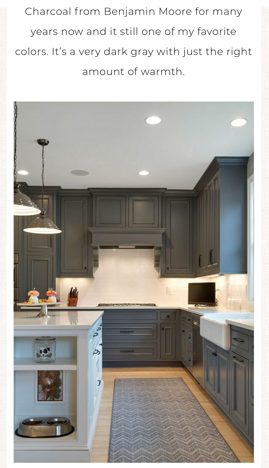 Bm Kendall Charcoal Darker Cabinet Color Pretty Kitchens Decor Charcoal Kitchen Blue Kitchen Cabinets