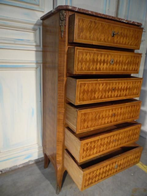 Sideboard Louis Xv Marqueterie 6 Drawers Marble Top Buffets Meubles Nord Antique Meuble Buffet Meuble Buffet