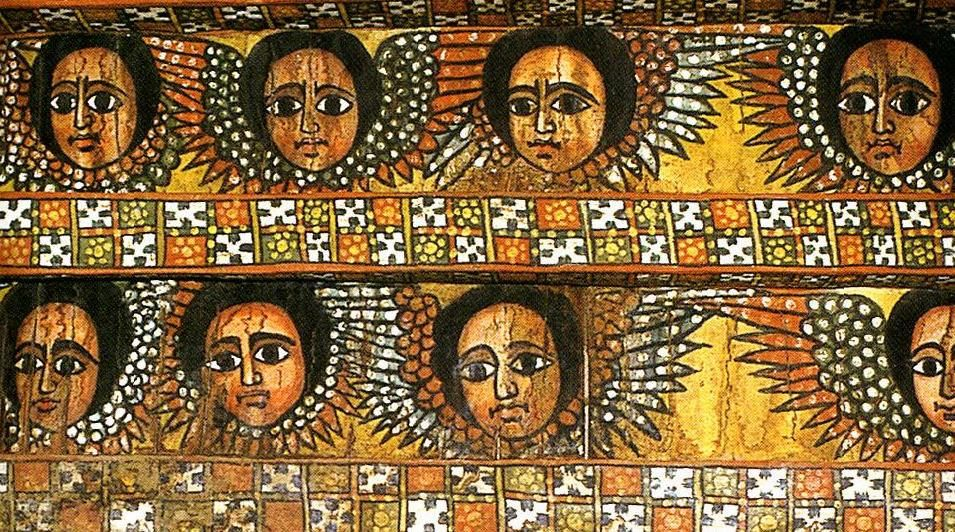 Ethiopian angels in the medieval city of Gondar  The ceiling