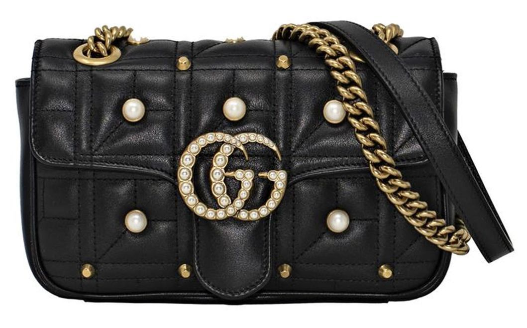 fd0e586d3246de NWT Gucci Marmont 2.0 GG Pearl Logo Matelassé Leather Shoulder Bag $2490  Black