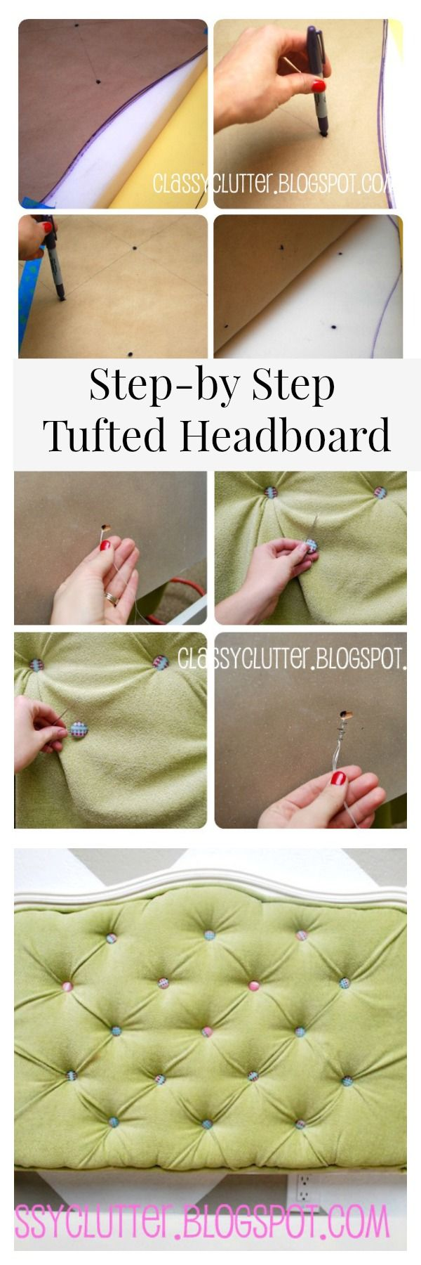 DIY Tufted And Upholstered Headboard Tutorial   Www.classyclutter.net